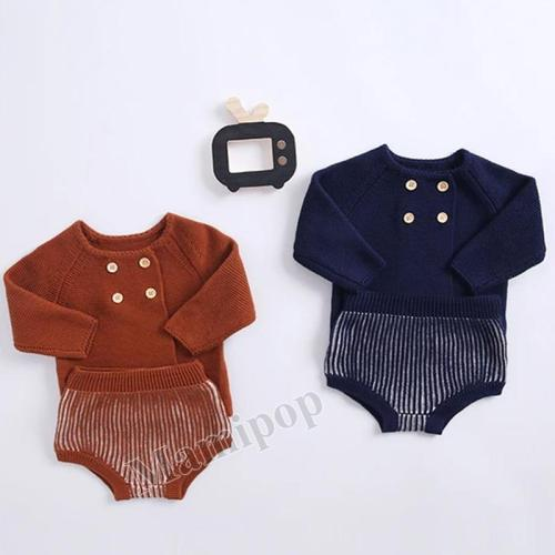 2020 Autumn Baby Children's Cotton Knitting Cotton lTwo Piece Set