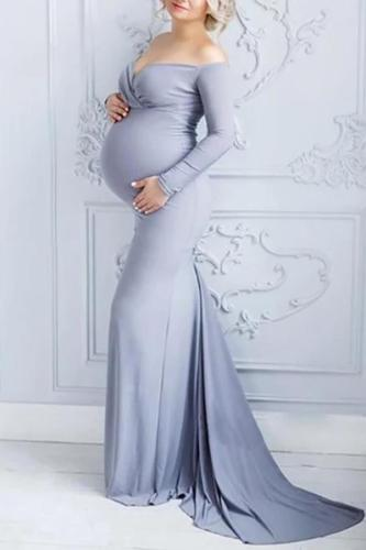 Maternity Sexy Word Collar Slim Solid Color Mopping Dress
