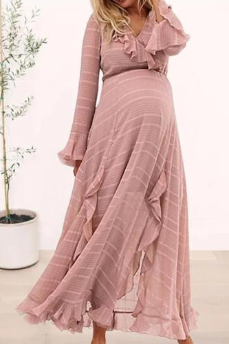 Maternity Sweet Long Sleeve Pure Colour Ruffled Maxi Dress