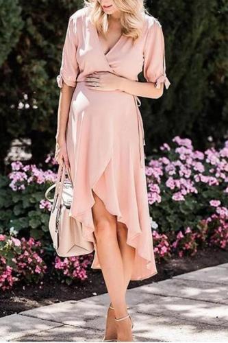 Maternity Irregular Solid Pink Dress