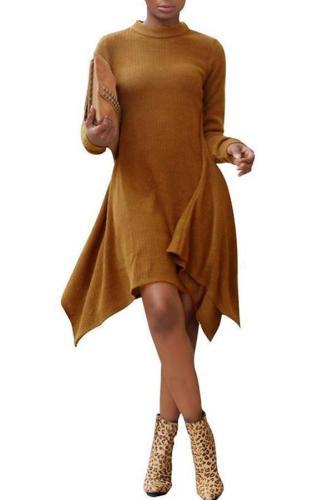 Asymmetrical Stand Collar Long Sleeve Slim Warm Sweater Dress