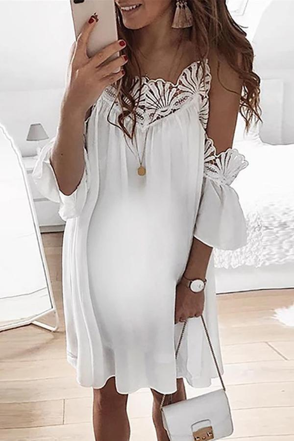 Maternity Sexy Women's Off-The-Shoulder Lace Dress