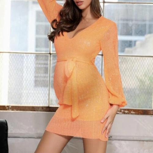 Maternity Fashion Deep V-Neck Solid Color Belt Long Sleeve Dress