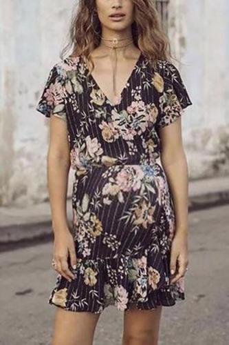 Maternity Casual Large Flower Printed Strap Cardigan Dress