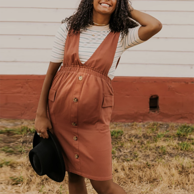 Maternity v neck pure color single-breasted dress