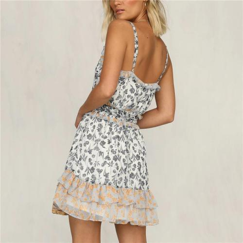 Maternity V-neck Sling Leopard Print Dress