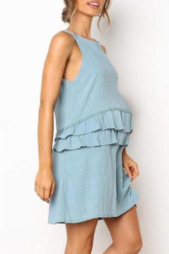 Maternity O-Neck Sleeveless Plain Ruffle Daily Dress
