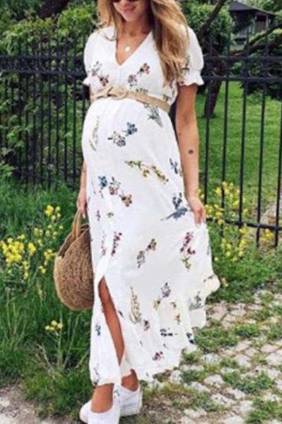 Maternity Casual Printed Short Sleeve Dress