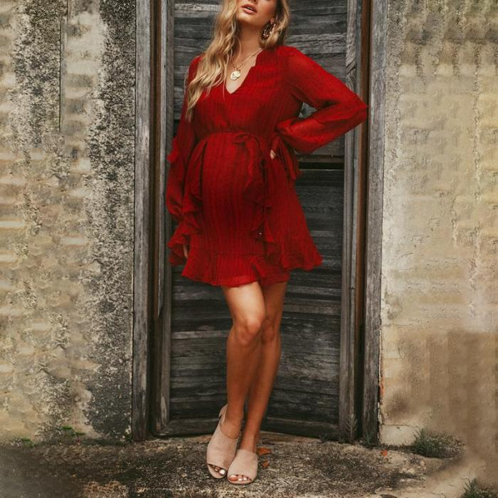 Maternity Casual V-Neck Petal Sleeve Belted Red Dress