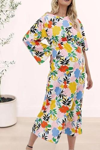 Maternity Casual Round Neck Printed Colour Dress