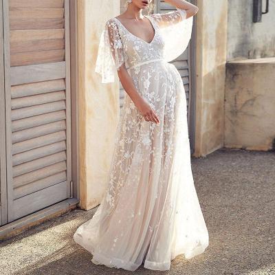 Maternity Fashion Sexy Lace V-neck Halter Dress