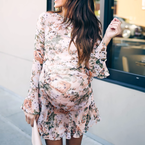 Maternity Casual Printed Round Neck Long Sleeve Dress