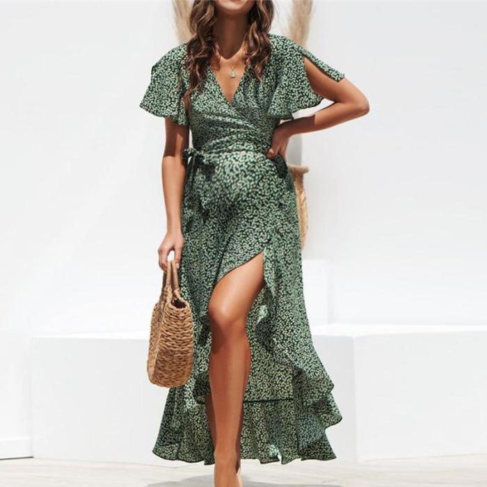 Maternity V-Neck Asymmetrical Maxi Dress