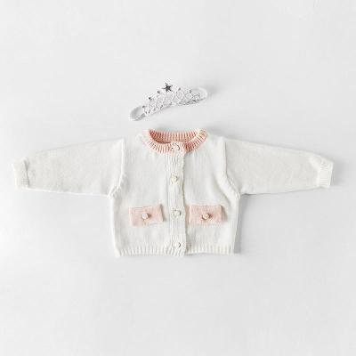 Spring and Autumn Baby Boys and Girls' Suit Pocket knitted Coat + Woolen Hardcover Creeper