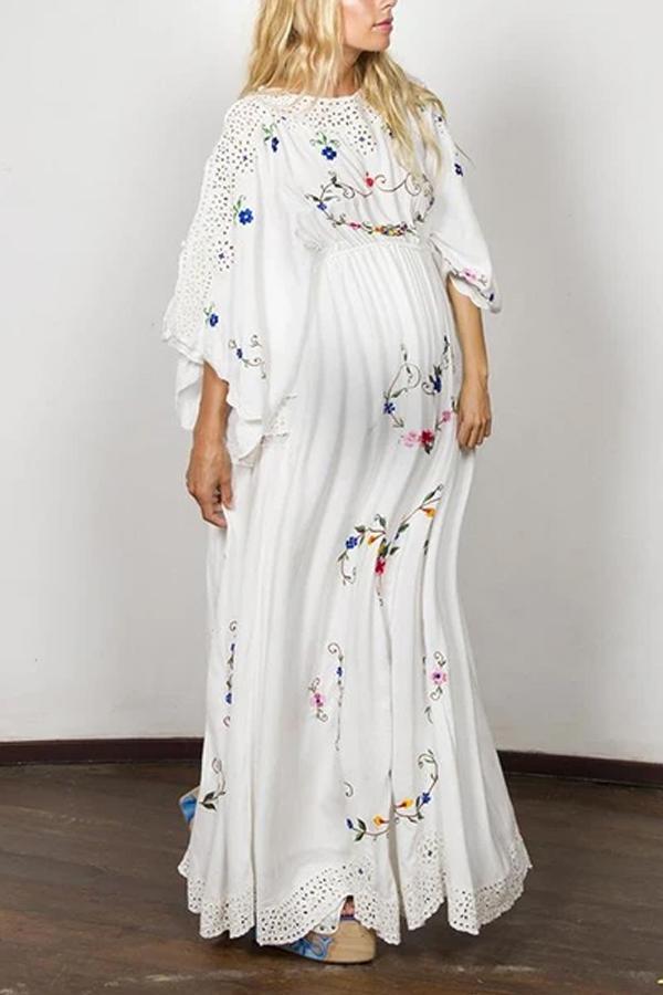 Fashion embroidered maternity dress