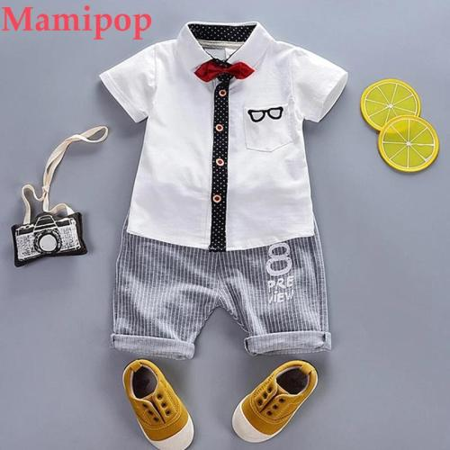 Boy Gentleman Tie Tops Short Sleeve Shirt Shorts Outfit Set Clothes