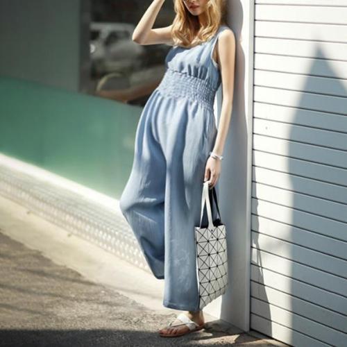 Maternity Casual Pure Color Sleeveless Elastic Waist Jumpsuits
