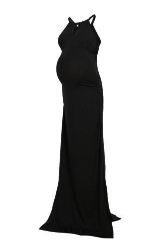 Fashion Backless Halter Plain Beading Maxi Dress