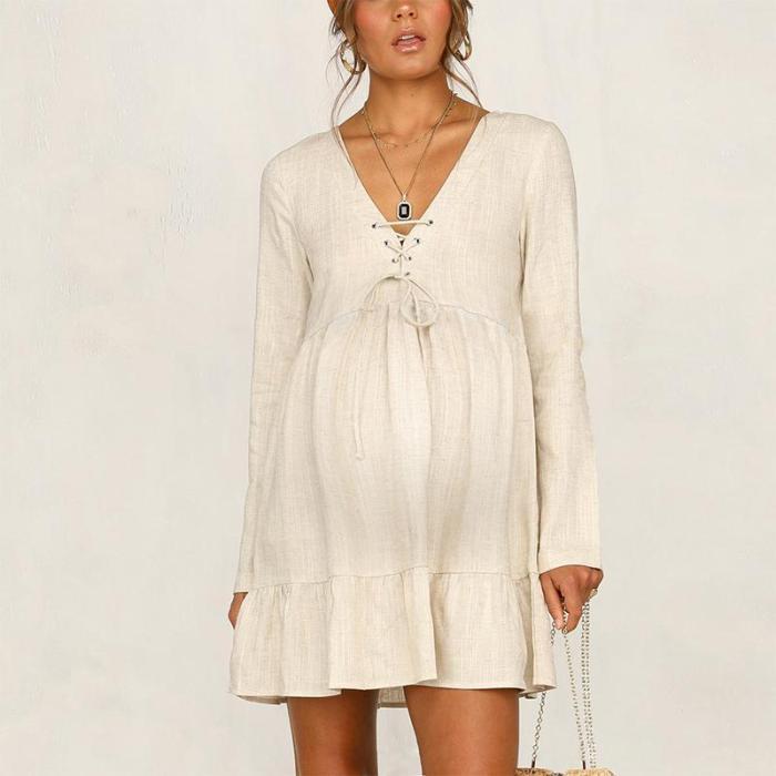 Maternity Fashion V Neck Belted Pure Color Long Sleeve Ruffled Hem Dress
