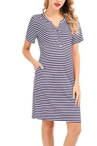 Women's Nursing Dress Short Sleeve Maternity Dress Stripe Nursing Pajama
