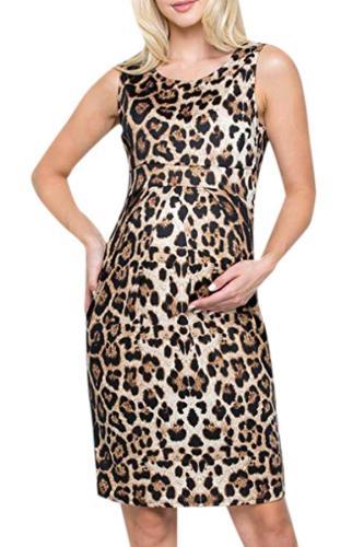Sleeveless Nursing Leopard Print Vest Maternity Dress