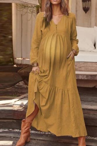 Maternity Fashion Round Neck Pure Colour Ruffled Dress