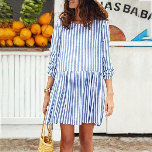Maternity O-Neck Loose Stripe Casual Dress