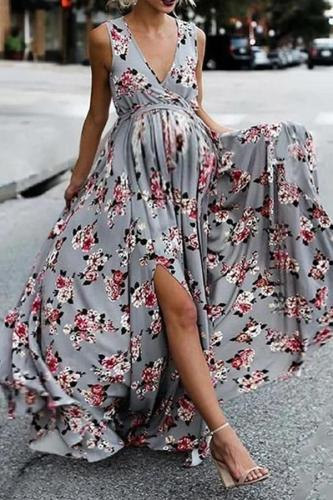 Maternity V Neck Floral Pattern Sleeveless Dress