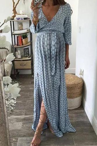 Maternity Casual V Neck Long Sleeve Check Dress