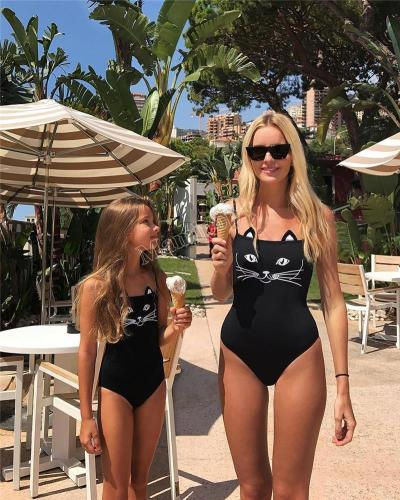 Summer Mother Daughter Swimsuit Animal Cat Printed  Mommy And Me Play Suit Swimwear Bikini