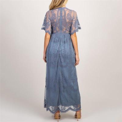 Teal Lace Mesh Overlay Maternity Maxi Dress