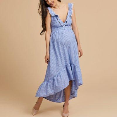 Maternity Summer Deep V Collar Backless Irregular Skater Dress