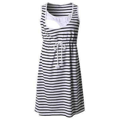 Maternity Nursing Dress Stripe Breastfeeding Summer High Waist Belt Pregnancy Dress