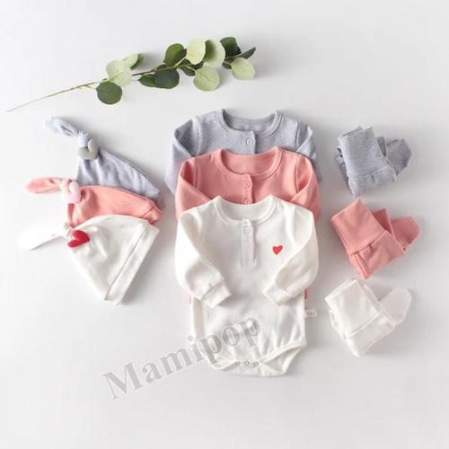 2020 Spring Wear Baby Long-sleeved Ha-Shirt Climbing Dress High Waist Pants And Love Hat Baby Three-Piece Set