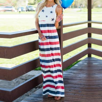Maternity Print Patchwork Stripe Sleeveless Sundress