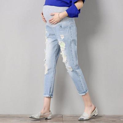 Maternity Comfortable Blue Cotton Denim Pants Pregnant Women Trousers