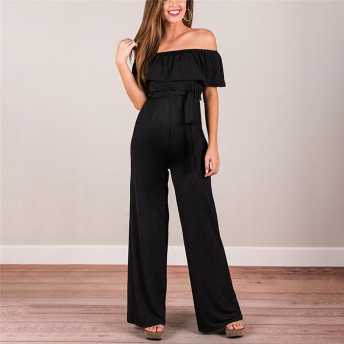 Maternity One-Shoulder Lace-Up Wide-Legged Jumpsuit