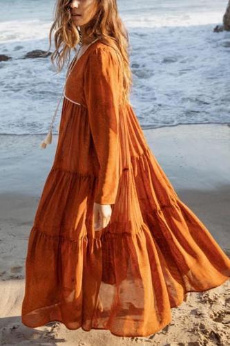 Maternity Fashion V-neck Loose Tie Holiday Dress