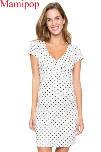 Summer V Neck  Maternity Polka Dot Print  Breastfeeding Dress