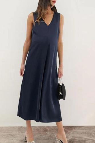 Maternity Elegant Sleeveless Pure Colour Maxi Dress