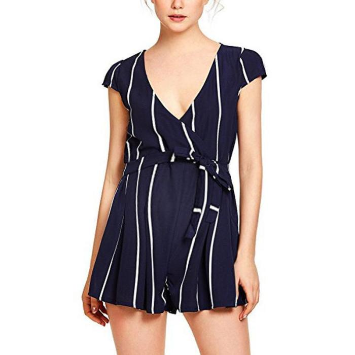 Maternity Casual Striped Short-Sleeved Belt Jumpsuit