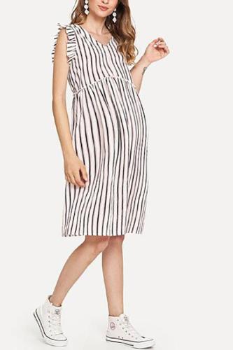 Maternity V-Neck Striped Short-Sleeved Dress