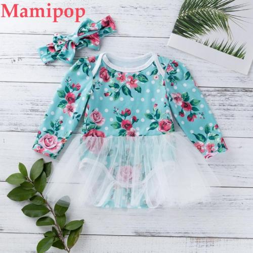 Baby Girls Long Sleeve Romper Skirt Hair Band Outfits Fashion Clothes Set