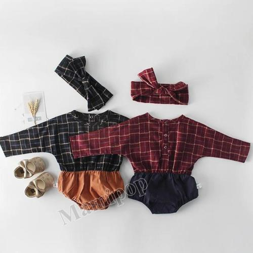Baby Plaid Hardcover Baby Cotton Long Sleeve One Piece Creeper Sending Belt