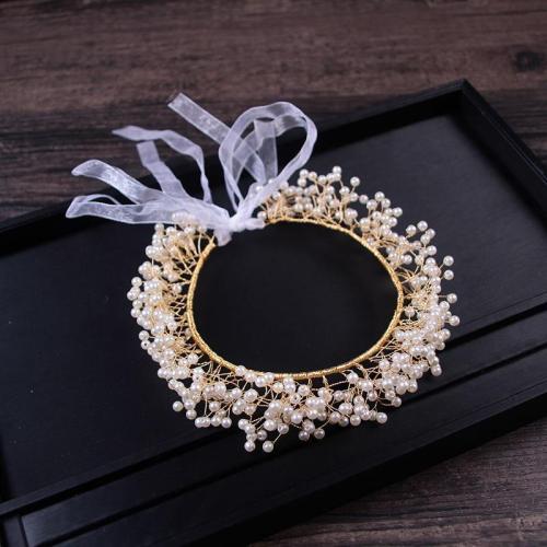 Classic handmade pearl beaded bride headband
