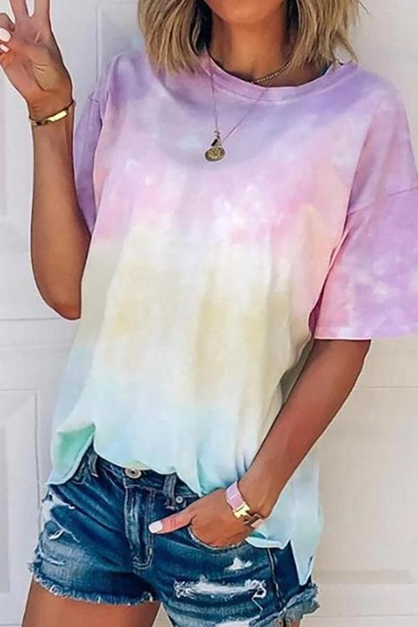 Maternity Short Sleeve Tie Dye Print T-shirt