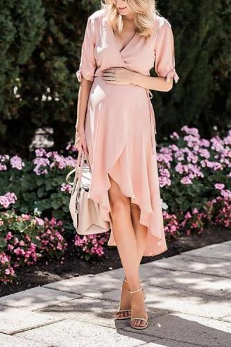 Maternity Chiffon V-Neck Short-Sleeved Tie Maxi Dress
