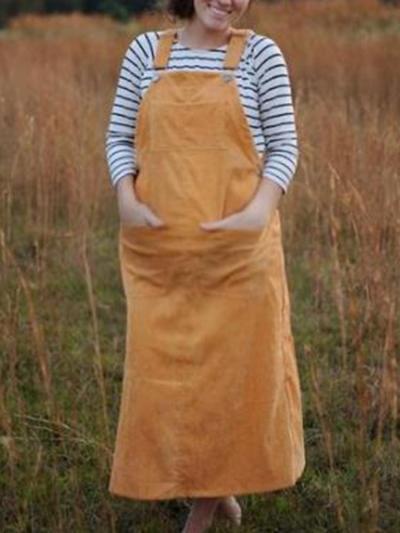 Maternity caasual solid colour pockets lonf bib dress