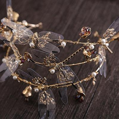 Baroque Crown Three Layer Dragonfly Bridal Photography Hair Accessories