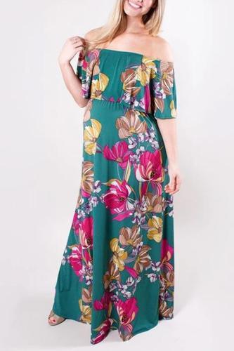 Maternity Elegant Ruffled Collar Floral Print Dress